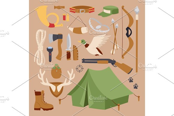 Set Of Hunting Symbols Camping Objects Design Elements Weapons Vector Illustration