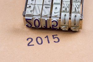"""2015"" printed with an inkpad"
