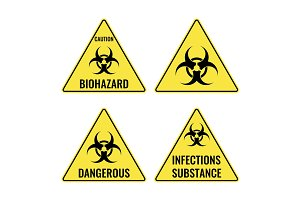 Warning yellow signs in triangular shape vector caution emblems
