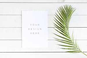 Palm Leaf Vertical Card Mockup