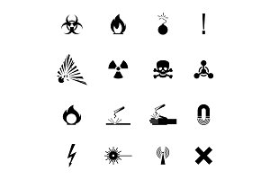 Biohazard warning black signs collection isolated on white