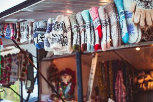 Winter accessories at Christmas fair