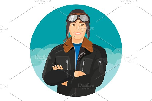 Male Pilot In Jacket And Leather Aviator Hat With Goggles