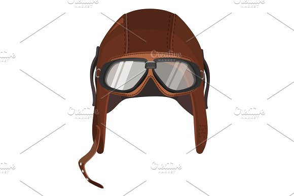 Brown Aviator Hat With Goggles Isolated On White