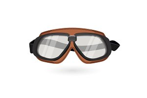 Brown aviation goggles in vintage style isolated on white