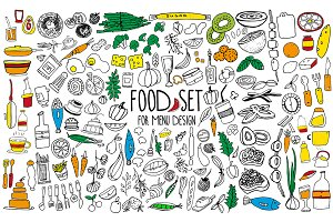 Set of hand drawn food elements