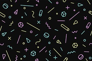 Seamless graphic pattern 80s-90s trendy styles