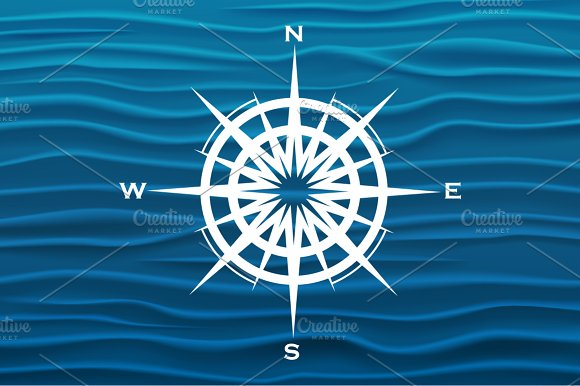 Vector wind rose over blue waves background