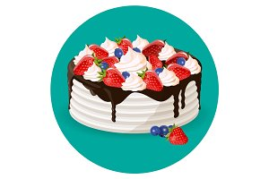 Birthday cake with fresh blueberries, strawberries, creamy flowers vector