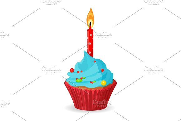 Birthday Cupcake With One Burning Candle Blue Cream With Caramel