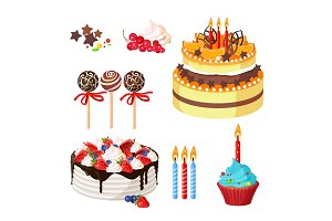 Birthday cakes and attributes colorful poster on white