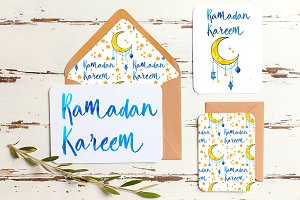 Ramadan watercolor, seamless pattern