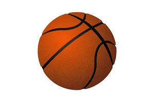 Basketball spherical inflated leather ball realistic vector illustration