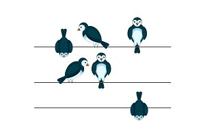 Birds sitting on wire in different positions vector illustration
