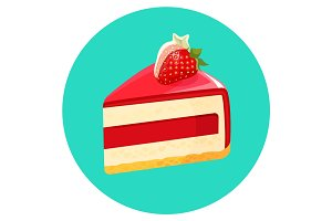 Piece of birthday cheesecake with jelly decorated with strawberry vector