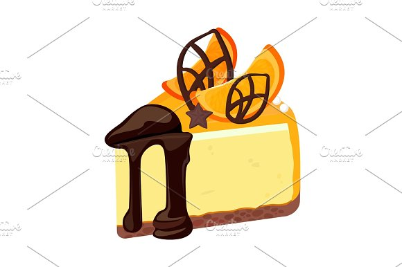 Piece Of Birthday Cheesecake With Chocolate Topping Decorated With Fruit