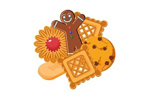 Set of vector biscuits of various types, gingerbread confectionery
