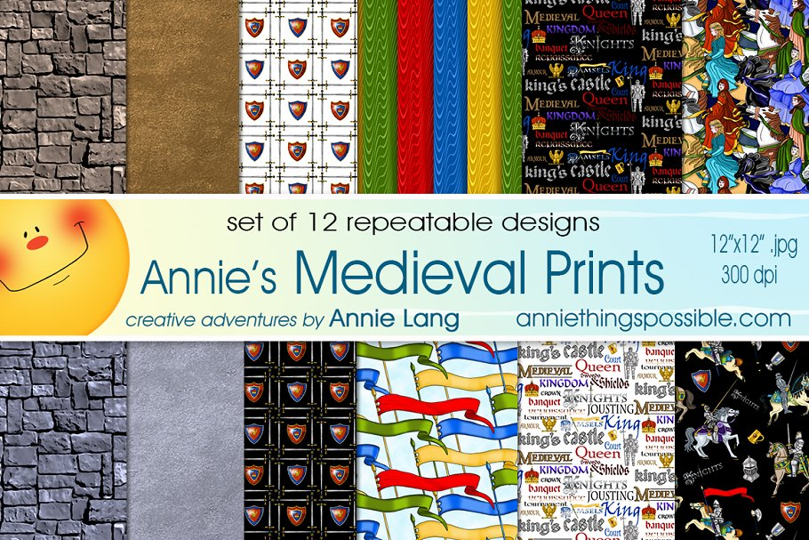 Annie S Medieval Prints Graphic Patterns Creative Market