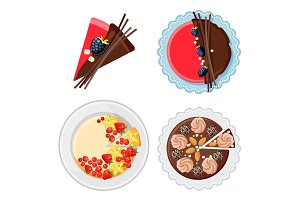 Set of birthday cakes with fresh organic fruits, chocolate sticks