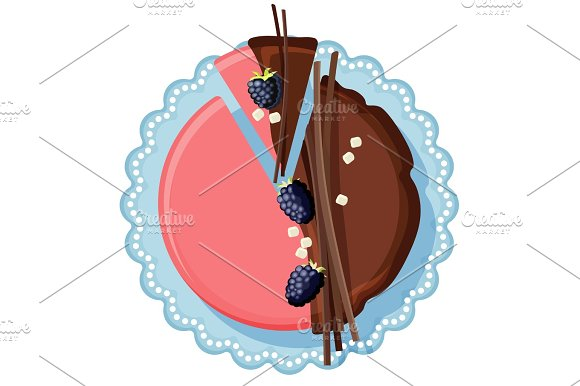 Birthday Cake With Chocolate And Strawberry Cream Decorated With Mulberry