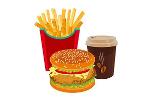 Hamburger, fried potatoes in red package and cup of coffee