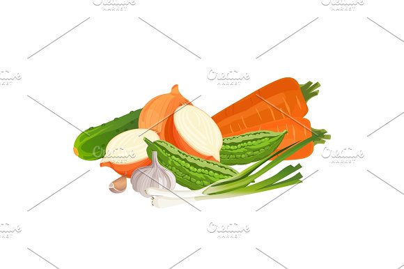 Set Of Vegetables Zucchini Two Carrots Whole And Half Fresh Onion