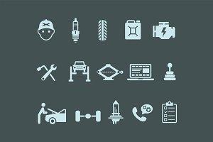 15 Car Maintenance Icons