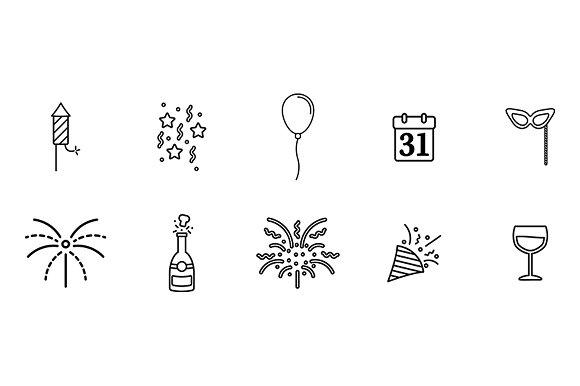 New Years Icons