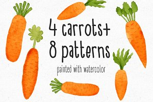 4Watercolor Carrots + 8Patterns