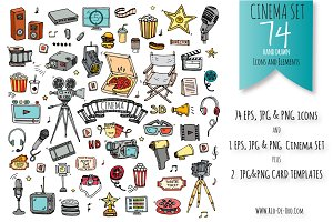 74 Cinema hand drawn color elements