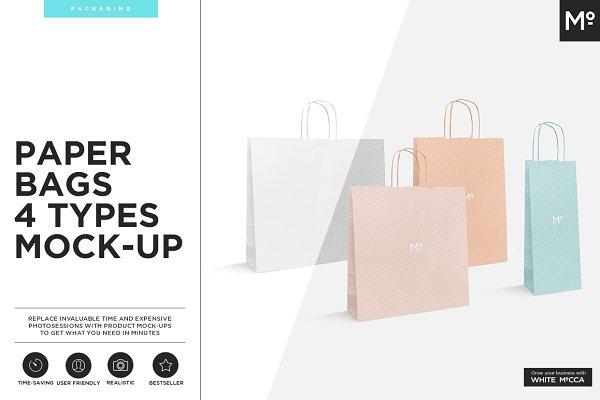 Paper Bags 4 Types Mock-up