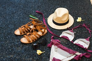 Beach Fashion: sandals, bathing suit
