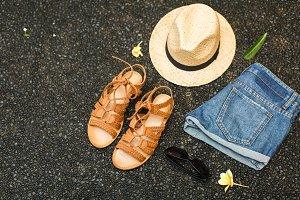 Beachwear: sandals, shorts, hat