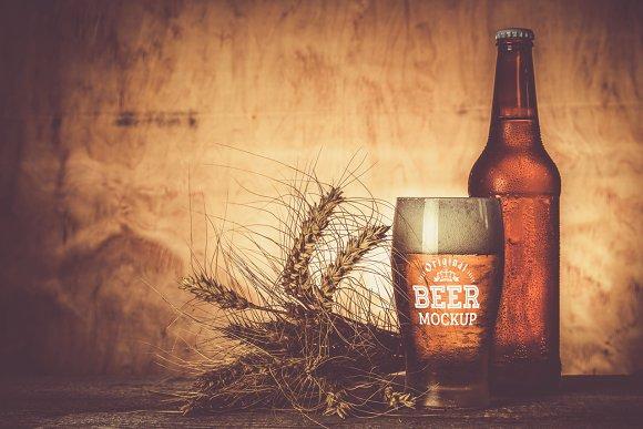 Download Beer Glass/Bottle Mock-up#8