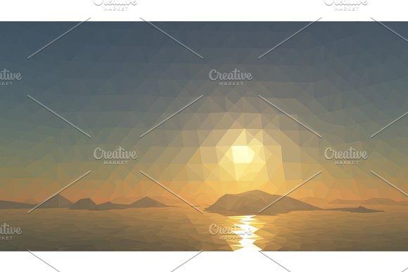 Mountains Background With Sun In Glacier Vector Illustration Of Many Triangles