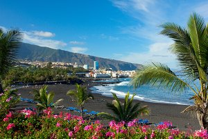 black sand beach, Tenerife, Spain