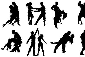 Couple Dancing Silhouettes Vectors