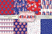 4th July seamless vector pattern set
