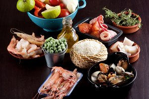 Raw Ingredients for Paella