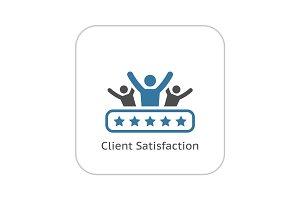 Client Satisfaction Icon. Flat Design.