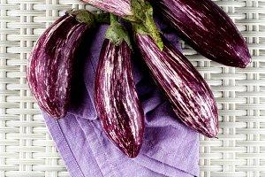 Raw Striped Eggplants