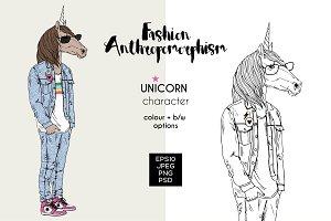 Unicorn anthropomorphic character