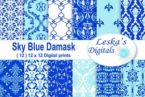 Blue Damask Digital Paper Patterns