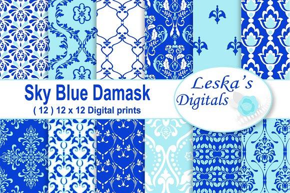 Blue Damask Digital Paper Patterns