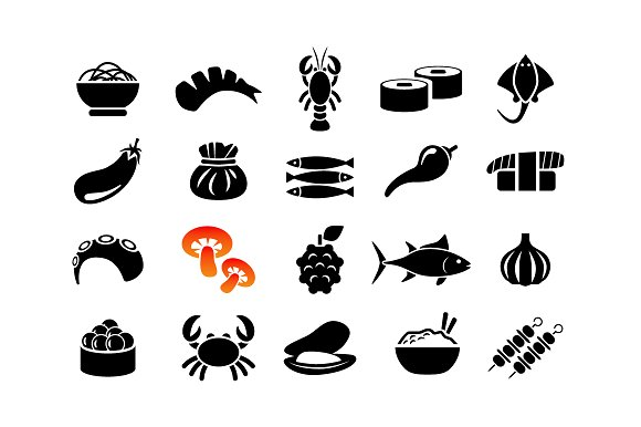 ASIAN FOOD Vector Icons