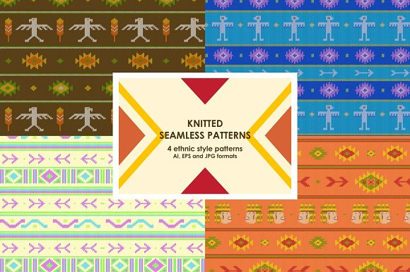 Knitted seamless patterns in Patterns - product preview 1