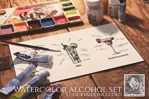 Watercolor alcohol cocktails set