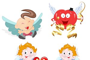 Cute Cartoon Cupids Vectors