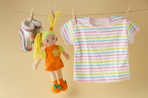 clothesline with toy doll