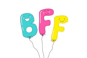 Cute smiling cartoon characters of letters BFF (Best Friends Forever) as party balloons